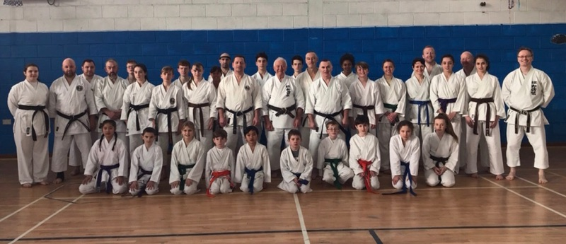 Members of SKIF Ireland who attended the 2017 SKIF Ireland Gasshuku in Clonmel November 2017 including Instructors Sensei Neil Sargent 7th Dan, Sensei Eddie O Donnell 6th Dan and Sensei Martin O Keeffe 5th Dan